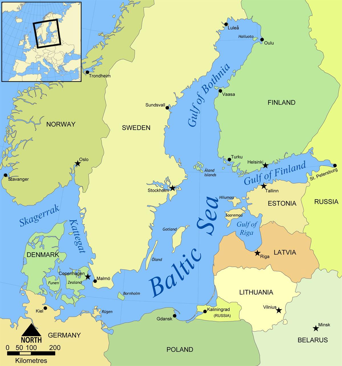østersjøen kart Østersjøen Russland kart   Kart over østersjøen og Russland (Øst  østersjøen kart
