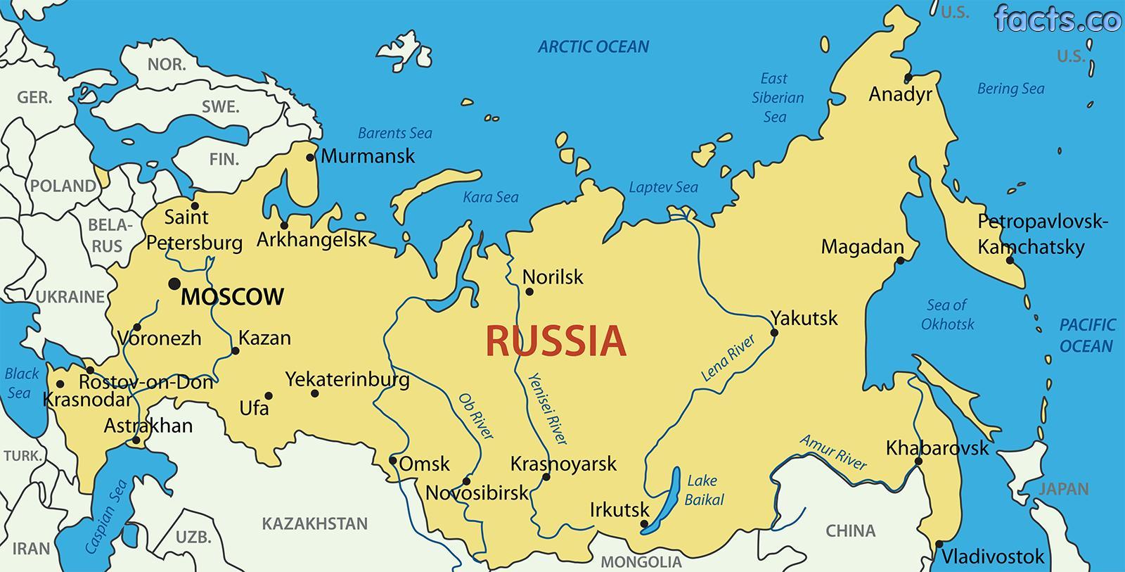 russland kart Russland kart byer   Byer i Russland kart (Øst Europa   Europa)