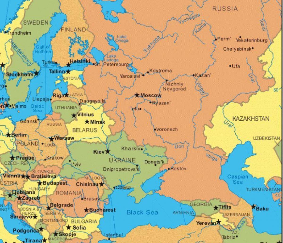 sentral europa kart Kart over Russland og øst europa   Kart øst europa og Russland  sentral europa kart