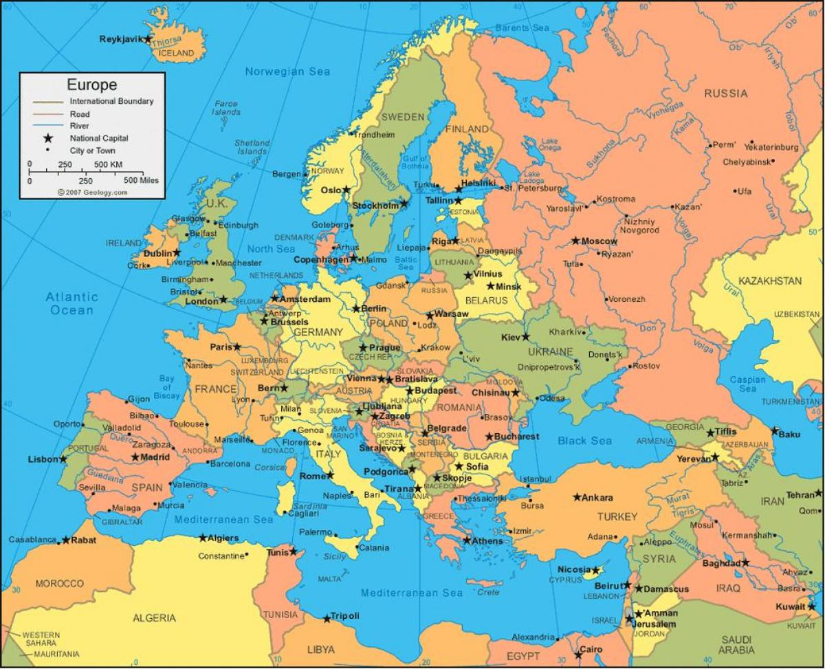 Kart Over Russland Og Europa Og Russland Kart Europa Ost Europa